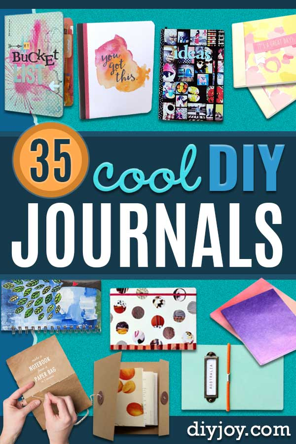 DIY Journals - Ideas For Making A Handmade Journal - Cover Art Tutorial, Binding Tips, Easy Craft Ideas for Kids and For Teens - Step By Step Instructions for Making From Scratch, From An Old Book - Leather, Faux Marble, Paper, Monogram, Cute Do It Yourself Gift Idea #diy #diyideas #journals #crafts