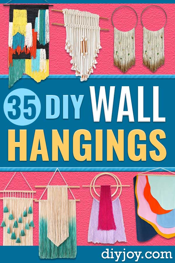 DIY Wall Hangings - Easy Yarn Projects , Macrame Ideas , Fabric Tapestry and Paper Arts and Crafts , Planter and Wood Board Ideas for Bedroom and Living Room Decor - Cute Mobile and Wall Hanging for Nursery and Kids Rooms #diy #homedecor #wallart #crafts http://diyjoy.com/diy-wall-hangings