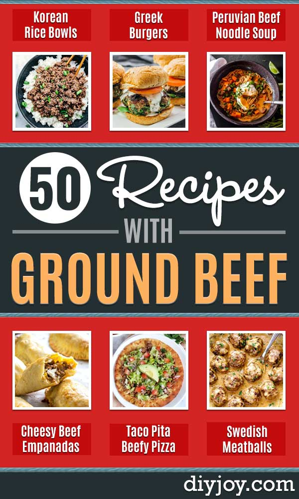Best Recipes With Ground Beef - Easy Dinners and Ground Beef Recipe Ideas - Quick Lunch Salads, Casseroles, Tacos, One Skillet Meals - Healthy Crockpot Foods With Hamburger Meat - Mexican Casserole, Instant Pot Carne Molida, Low Carb and Keto Diet - Rice, Pasta, Potatoes and Crescent Rolls #groundbeef #beefrecipes #beefrecipe #dinnerideas #dinnerrecipes http://diyjoy.com/best-recipes-ground-beef