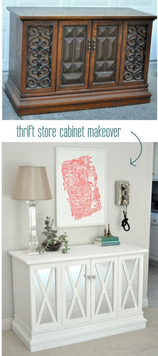 Thrift Store DIY Makeovers - $10 Cabinet Makeover - Decor and Furniture With Upcycling Projects and Tutorials - Room Decor Ideas on A Budget - Crafts and Decor to Make and Sell - Before and After Photos - Farmhouse, Outdoor, Bedroom, Kitchen, Living Room and Dining Room Furniture http://diyjoy.com/thrift-store-makeovers