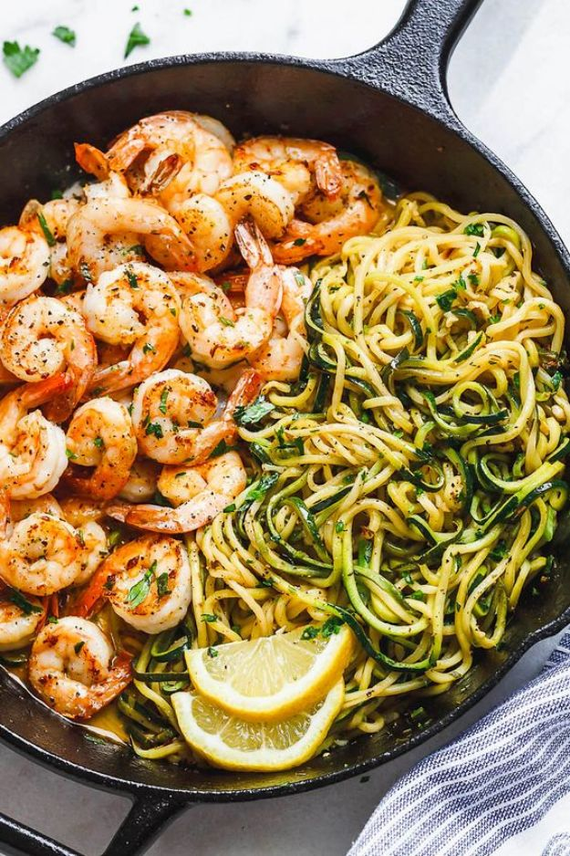 Easy Dinner Recipes - 10 Minute Lemon Garlic Butter Shrimp With Zucchini Noodles - Quick and Simple Dinner Recipe Ideas for Weeknight and Last Minute Supper - Chicken, Ground Beef, Fish, Pasta, Healthy Salads, Low Fat and Vegetarian Dishes - Easy Meals for the Family, for Two, for One and Cook Ahead Crockpoit Dinners - Cheap Casseroles and Budget Friendly Foods to Make at Home http://diyjoy.com/easy-dinner-recipes