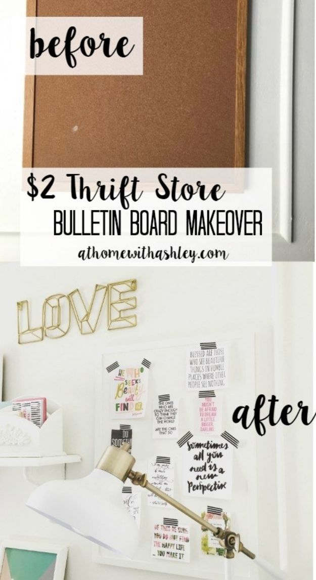 Thrift Store DIY Makeovers - $2 Thrift Store Bulletin Board Makeover - Decor and Furniture With Upcycling Projects and Tutorials - Room Decor Ideas on A Budget - Crafts and Decor to Make and Sell - Before and After Photos - Farmhouse, Outdoor, Bedroom, Kitchen, Living Room and Dining Room Furniture http://diyjoy.com/thrift-store-makeovers
