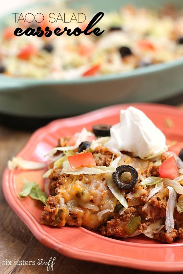 Best Casserole Recipes - 20-Minute Taco Salad Casserole - Healthy One Pan Meals Made With Chicken, Hamburger, Potato, Pasta Noodles and Vegetable - Quick Casseroles Kids Like - Breakfast, Lunch and Dinner Options - Mexican, Italian and Homestyle Favorites - Party Foods for A Crowd and Potluck Dishes http://diyjoy.com/best-casserole-recipes