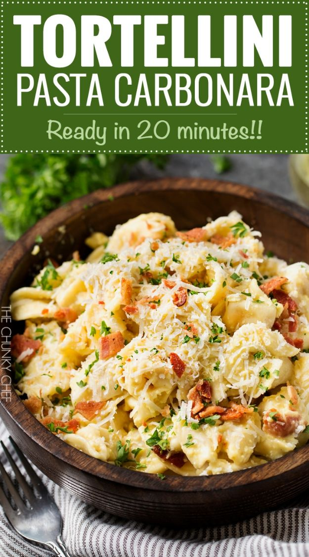 Best Italian Recipes - 20 Minute Tortellini Pasta Carbonara - Authentic and Traditional italian dishes For Dinner, Appetizers, and Easy Lunch - Pasta with Chicken, Lasagna, Noodles With Cheese, Healthy Recipe Ideas - Party Trays and Food For A Crowd - Fettucini, Spaghetti, Alfredo Sauce, Meatballs, Grilled Steak and Fish, Soup, Seafood, Vegetarian and Crockpot Versions #italian