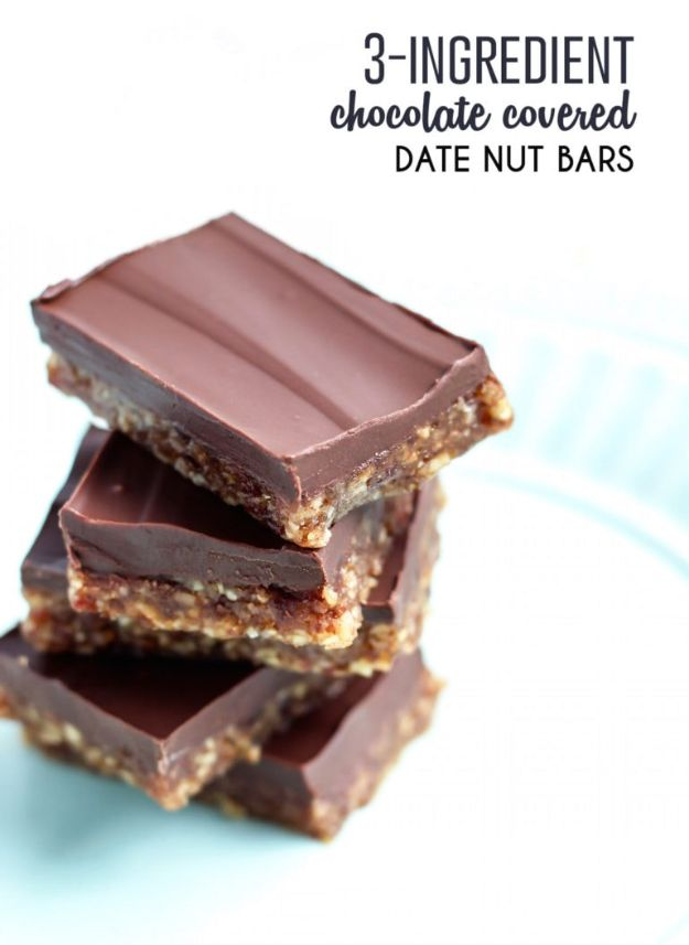 Chocolate Desserts and Recipe Ideas - 3-Ingredient Dark Chocolate Covered Date Nut Bars - Easy Chocolate Recipes With Mint, Peanut Butter and Caramel - Quick No Bake Dessert Idea, Healthy Desserts, Cake, Brownies, Pie and Mousse - Best Fancy Chocolates to Serve for Two, A Crowd, and Simple Snacks http://diyjoy.com/chocolate-dessert-recipes