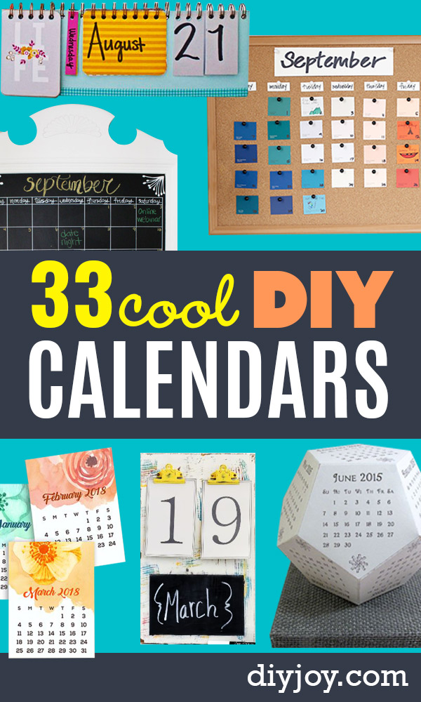 DIY Calendars - Homemade Calender Ideas That Make Great Cheap Gifts for Christmas - Desk, Wall and Glass Dry Erase Organizing Calendar Projects With Step by Step Tutorials - Paint, Stamp, Magnetic, Family Planner and Organizer #diycalendar #diyideas #crafts #calendars #organizing #diygifts
