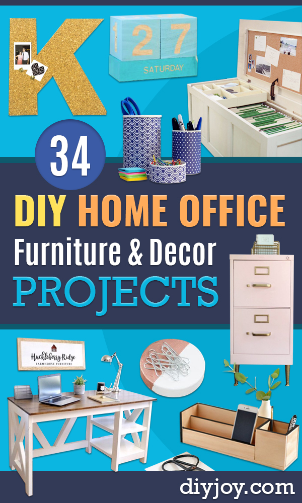 DIY Office Furniture - Do It Yourself Home Office Furniture Ideas - Desk Projects, Thrift Store Makeovers, Chairs, Office File Cabinets and Organization - Shelving, Bulletin Boards, Wall Art for Offices and Creative Work Spaces in Your House - Tables, Armchairs, Desk Accessories and Easy Desks To Make On A Budget #diyoffice #diyfurniture #diy #diyhomedecor #diyideas http://diyjoy.com/diy-office-furniture