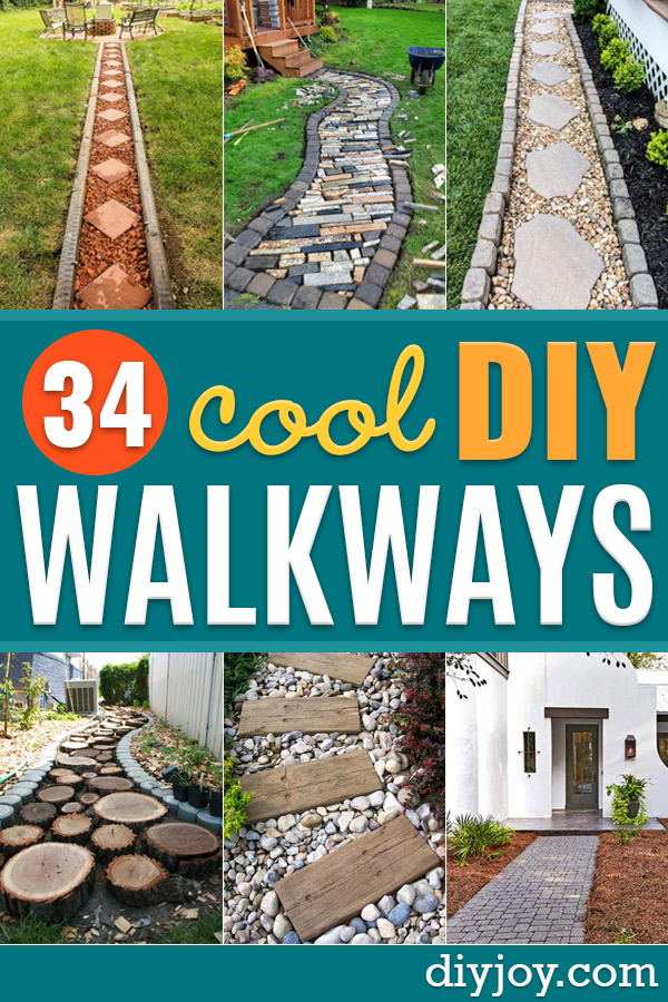 DIY Walkways - Do It Yourself Walkway Ideas for Paths to The Front Door and Backyard - Cheap and Easy Pavers and Concrete Path and Stepping Stones - Wood and Edging, Lights, Backyard and Patio Walks With Gravel, Sand, Dirt and Brick http://diyjoy.com/diy-walkways