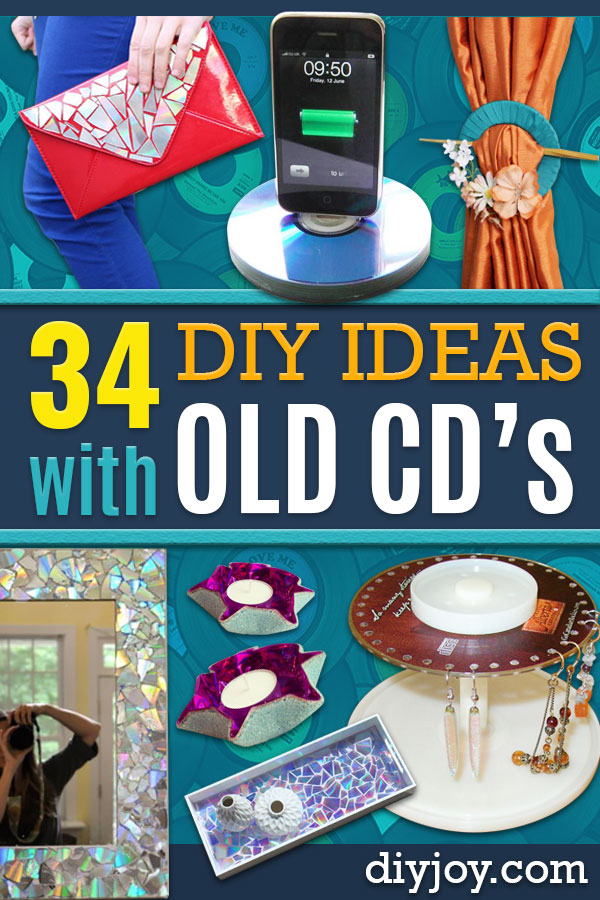 DIY Ideas With Old CD - Recycle Jewelry, Room Decoration Mosaic, Coasters, Garden Art and DIY Home Decor Using Broken DVD - Photo Album, Wall Art and Mirror - Cute and Easy DIY Gifts for Birthday and Christmas Holidays http://diyjoy.com/diy-ideas-old-cd-compact-disc