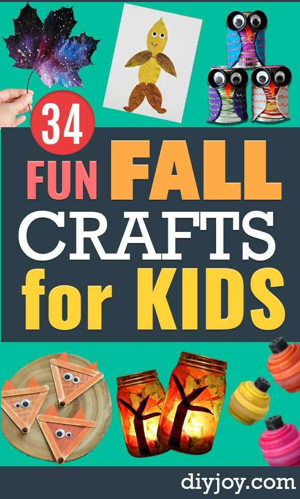 Fun Fall Crafts for Kids - Cool Crafts Ideas for Kids to Make With Paper, Glue, Leaves, Corn Husk, Pumpkin and Glitter - Halloween and Thanksgiving - Children Love Making Art, Paintings, Cards and Fall Decor - Placemats, Place Cards, Wall Art , Party Food and Decorations for Toddlers, Boys and Girls #kidscrafts #crafts #kids