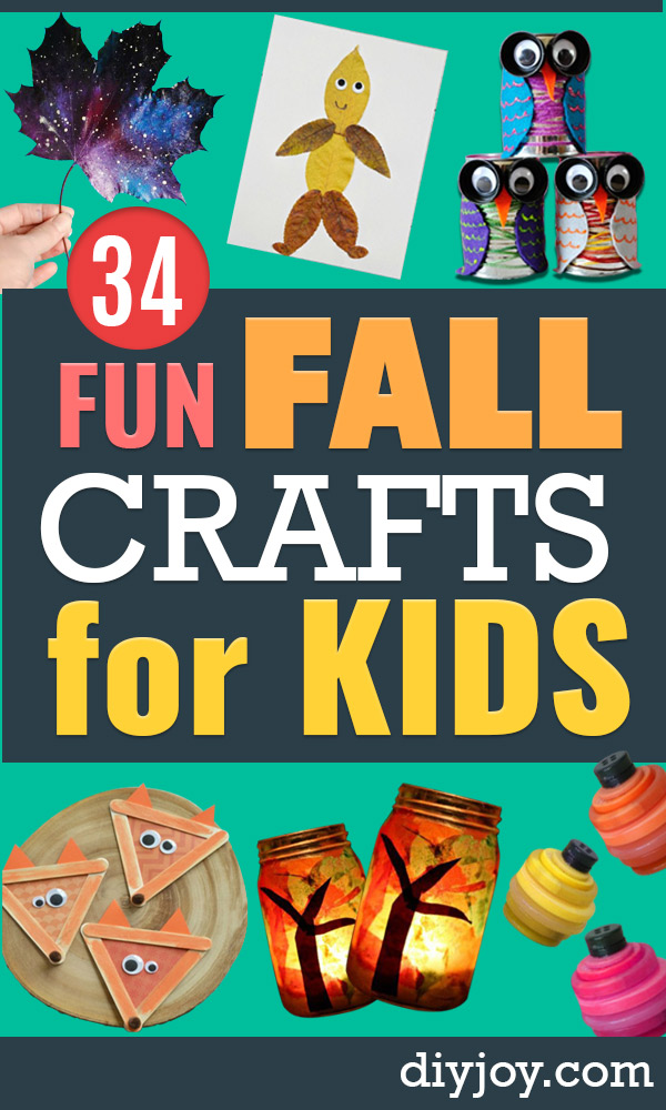 Fun Fall Crafts for Kids - Cool Crafts Ideas for Kids to Make With Paper, Glue, Leaves, Corn Husk, Pumpkin and Glitter - Halloween and Thanksgiving - Children Love Making Art, Paintings, Cards and Fall Decor - Placemats, Place Cards, Wall Art , Party Food and Decorations for Toddlers, Boys and Girls http://diyjoy.com/fun-fall-crafts-kids