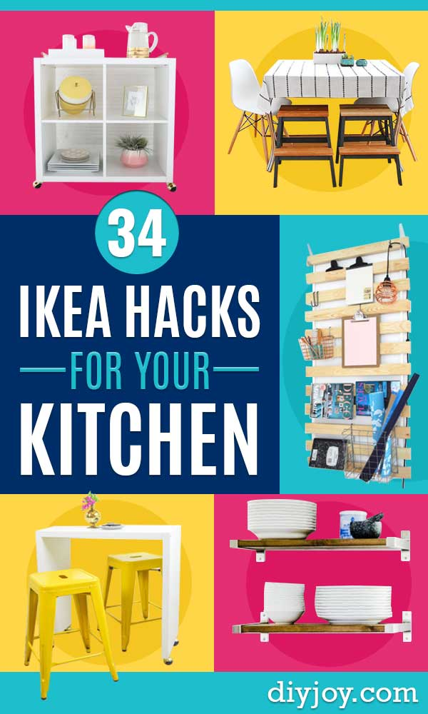 IKEA Hacks for Your Kitchen - DIY Furniture and Kitchen Accessories Made from IKEA - Kitchen Islands, Cabinets, Table, Pantry Organization, Storage, Shelves and Counter Solutions - Bar, Buffet and Entertaining Ideas - Easy Projects With Step by Step Tutorials and Instructions to Hack IKEA items http://diyjoy.com/ikea-hacks-kitchen #ikeahacks #diyhomedecor #diyideas #diykitchen