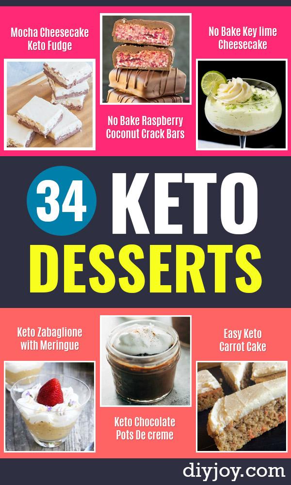 Keto Dessert Recipes - Easy Ketogenic Diet Dessert Recipes and Recipe Ideas - Shakes, Cakes In A Mug, Low Carb Brownies, Gluten Free Cookies #keto #ketorecipes #desserts