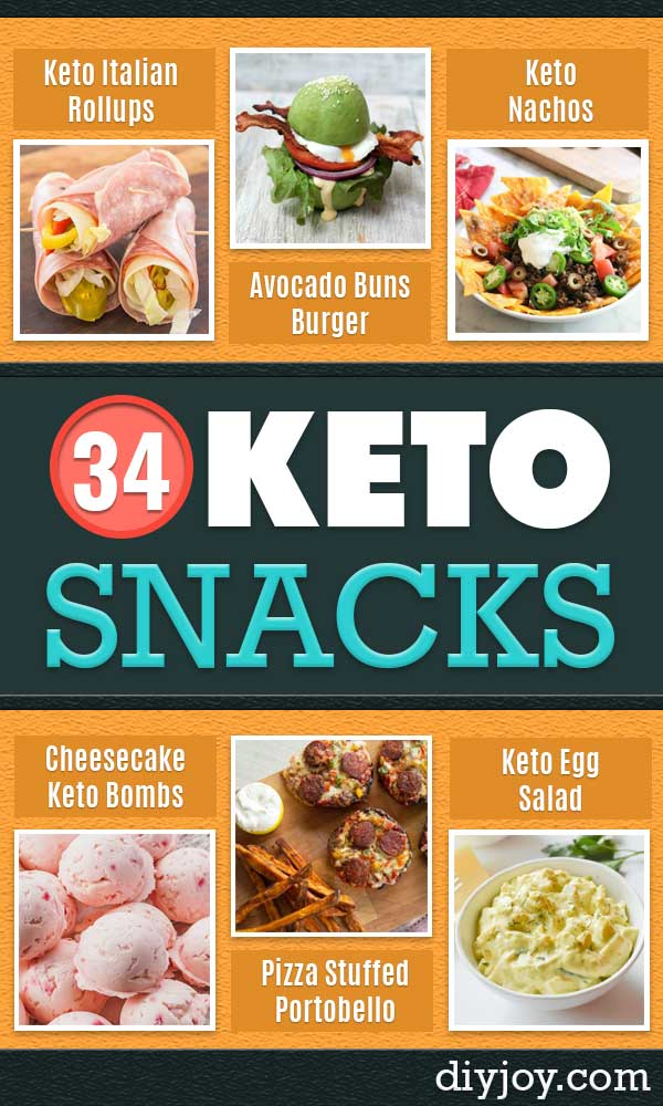 Keto Snacks - Keto Snack Recipes and Easy Low Carb Foods for the Ketogenic Diet On the Go - Quick Things to Eat for Snacking on Keto - Crunchy Chips, Late Night, Simple Ideas for Work, Sweet Treats and Store Bought Things to Buy for Travel http://diyjoy.com/keto-snacks