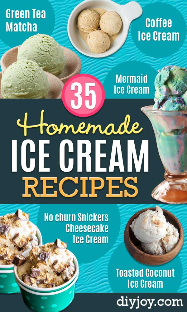 Homemade Ice Cream Recipes - How To Make Homemade Ice Cream At Home - Recipe Ideas for Making Vanilla, Chocolate, Strawberry, Caramel Ice Creams - Step by Step Tutorials for Easy Mixes and Dairy Free Options - Cuisinart and Ice Cream Machine, No Churn, Mix in A Bag and Mason Jar