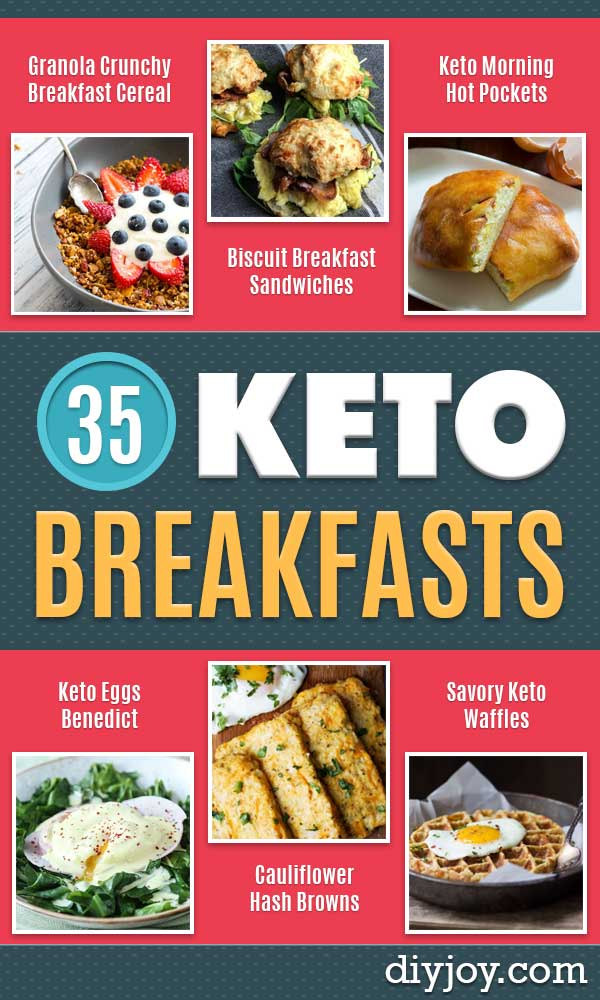 Keto Breakfast Recipes - Low Carb Breakfasts and Morning Meals for the Ketogenic Diet - Low Carbohydrate Foods on the Go - Easy Crockpot Recipes and Casserole - Muffins and Pancakes, Shake and Smoothie, Ideas With No Eggs #keto #ketorecipes