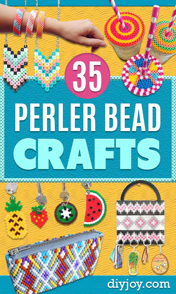 perler bead crafts - easy DIY ideas made with perler breads - Cute Accessories and Homemade Decor That Make Creative DIY Gifts - Plastic Melted Beads Make Cool Art for Walls, Jewelry - things to make when bored #crafts