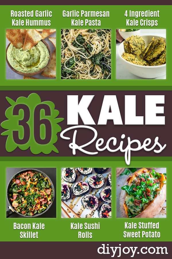 Best Kale Recipes - Healthy Green Vegetable Cooking for Salads, Soup, Lunches, Stir Fry and Dinner - Kale Chips. Salad, Shredded, Cooked, Fresh and Sauteed Kale - Vegan, Vegetarian, Keto, Low Carb and Lowfat Recipe Ideas #kale #kalerecipes #vegetablerecipes #veggies #recipeideas #dinnerideas http://diyjoy.com/best-kale-recipes