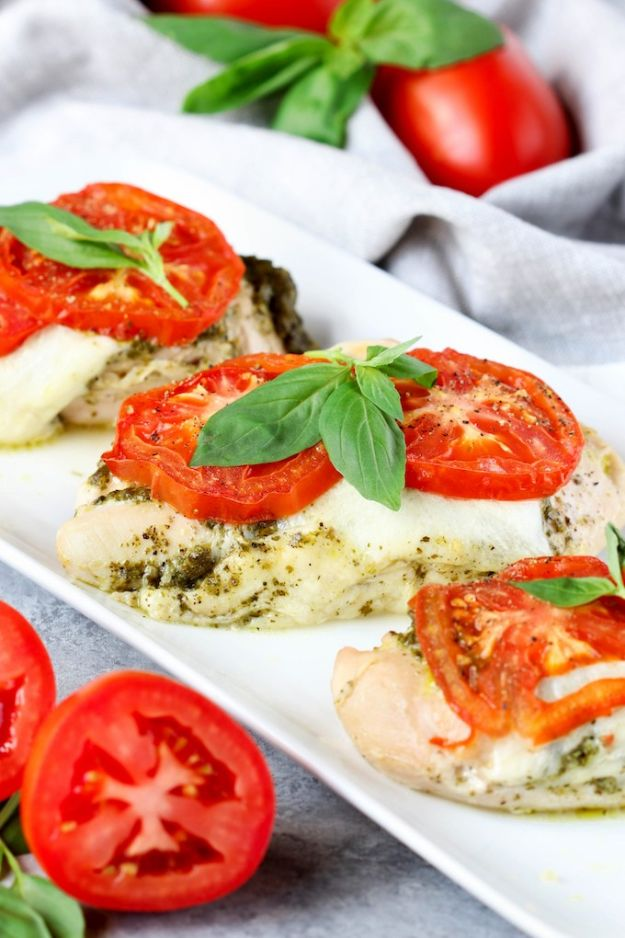 Easy Dinner Recipes - 4 Ingredient Pesto Chicken Bake - Quick and Simple Dinner Recipe Ideas for Weeknight and Last Minute Supper - Chicken, Ground Beef, Fish, Pasta, Healthy Salads, Low Fat and Vegetarian Dishes - Easy Meals for the Family, for Two, for One and Cook Ahead Crockpoit Dinners - Cheap Casseroles and Budget Friendly Foods to Make at Home http://diyjoy.com/easy-dinner-recipes
