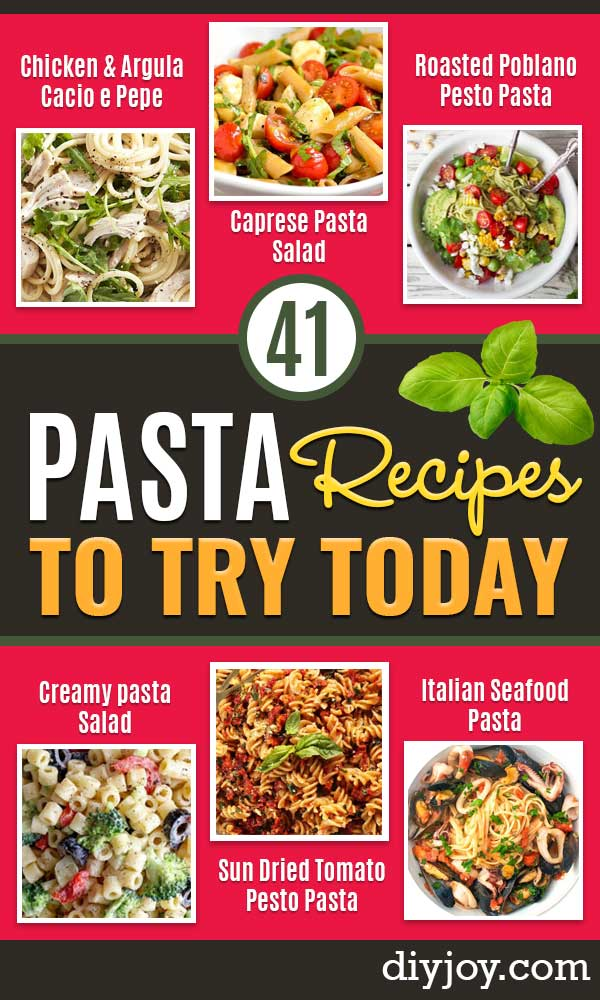 Best Pasta Recipes - Easy Pasta Recipe Ideas for Dinner, Lunch and Party Foods - Healthy and Easy Pastas With Shrimp, Beef, Chicken, Sausage, Tomato and Vegetarian - Creamy Alfredo, Marinara Red Sauce - Homemade Sauces and One Pot Meals for Quick Prep - Penne, Fettucini, Spaghetti, Ziti and Angel Hair http://diyjoy.com/pasta-recipes