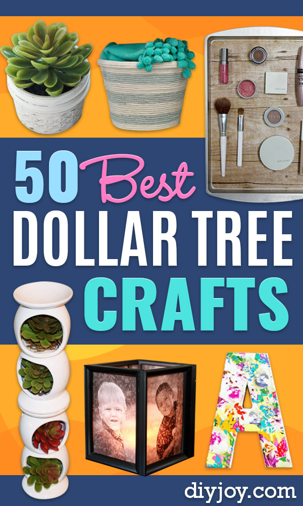 Dollar Tree Crafts - DIY Ideas and Crafts Projects From Dollar Tree Stores - Easy Organizing Project Tutorials and Home Decorations- Cheap Crafts to Make and Sell - Organization, Summer Parties, Christmas and Wedding Decor on A Budget - Fun Crafts for Kids and Teens from Dollar Store Items #dollarstore #dollartree #dollarstorecrafts #cheapcrafts #crafts #diy #diyideas http://diyjoy.com/dollar-tree-crafts