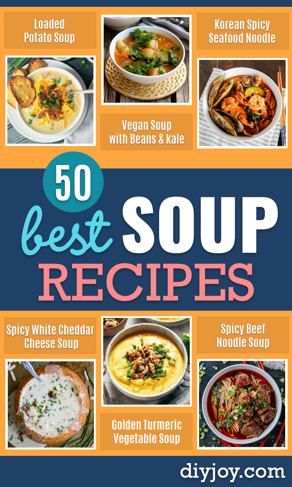 Soup Recipes - Healthy Soups and Recipe Ideas - Easy Slow Cooker Dishes, Soup Recipe for Chicken, Sausage, With Ground Beef, Potato, Vegetarian, Mexican and Asian Varieties - Creamy Soups for Winter and Fall - Low Carb and Keto Meals - Quick Bean Soup and Copycat Recipes http://diyjoy.com/soup-recipes