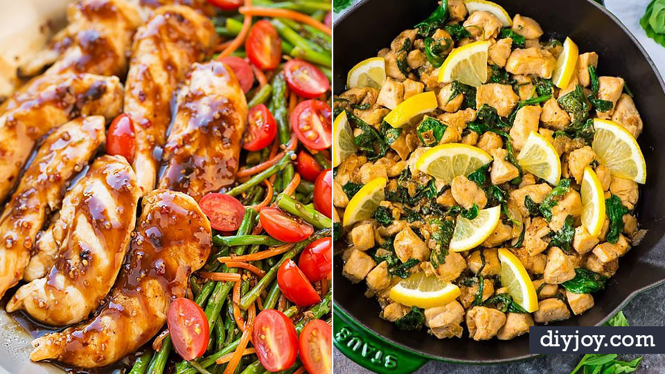 Easy Healthy Chicken Recipes - Lunch and Dinner Ideas, Party Foods and Casseroles, Idea for the Grill and Salads- Chicken Breast, Baked, Roastedf and Grilled Chicken - Add Shrimp, Penne Pasta, Beef, Sausage - Glazed, Barbecue and Instant Pot, Crockpot Chicken Dishes and Recipe Ideas http://diyjoy.com/easy-healthy-chicken-recipes