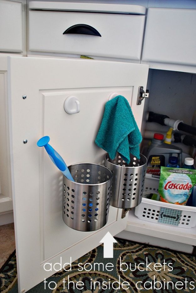 IKEA Hacks for Your Kitchen - Add Some Buckets - DIY Furniture and Kitchen Accessories Made from IKEA - Kitchen Islands, Cabinets, Table, Pantry Organization, Storage, Shelves and Counter Solutions - Bar, Buffet and Entertaining Ideas - Easy Projects With Step by Step Tutorials and Instructions to Hack IKEA items http://diyjoy.com/ikea-hacks-kitchen #ikeahacks #diyhomedecor #diyideas #diykitchen