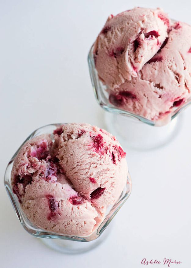 Homemade Ice Cream Recipes - Almond Cherry Ice Cream - How To Make Homemade Ice Cream At Home - Recipe Ideas for Making Vanilla, Chocolate, Strawberry, Caramel Ice Creams - Step by Step Tutorials for Easy Mixes and Dairy Free Options - Cuisinart and Ice Cream Machine, No Churn, Mix in A Bag and Mason Jar