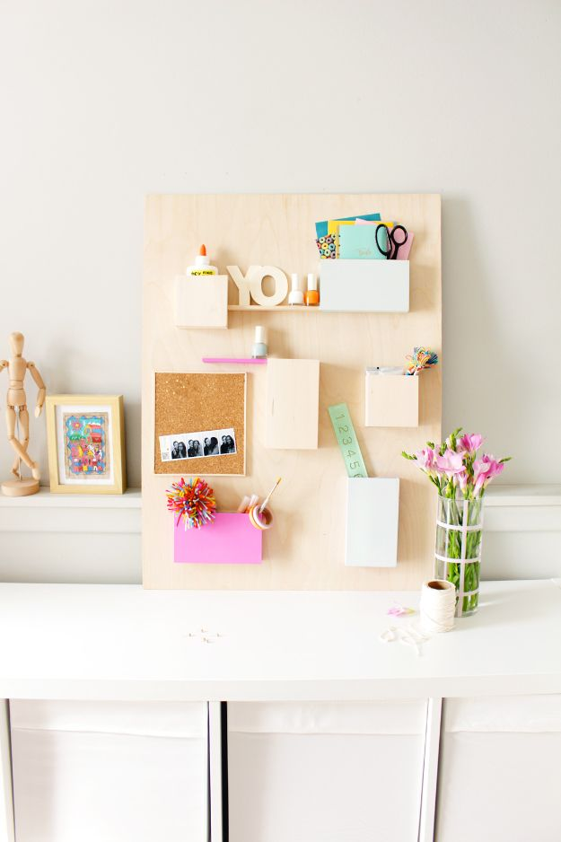 DIY Office Furniture - Anthropologie Wall Organizer Hack - Do It Yourself Home Office Furniture Ideas - Desk Projects, Thrift Store Makeovers, Chairs, Office File Cabinets and Organization - Shelving, Bulletin Boards, Wall Art for Offices and Creative Work Spaces in Your House - Tables, Armchairs, Desk Accessories and Easy Desks To Make On A Budget #diyoffice #diyfurniture #diy #diyhomedecor #diyideas http://diyjoy.com/diy-office-furniture