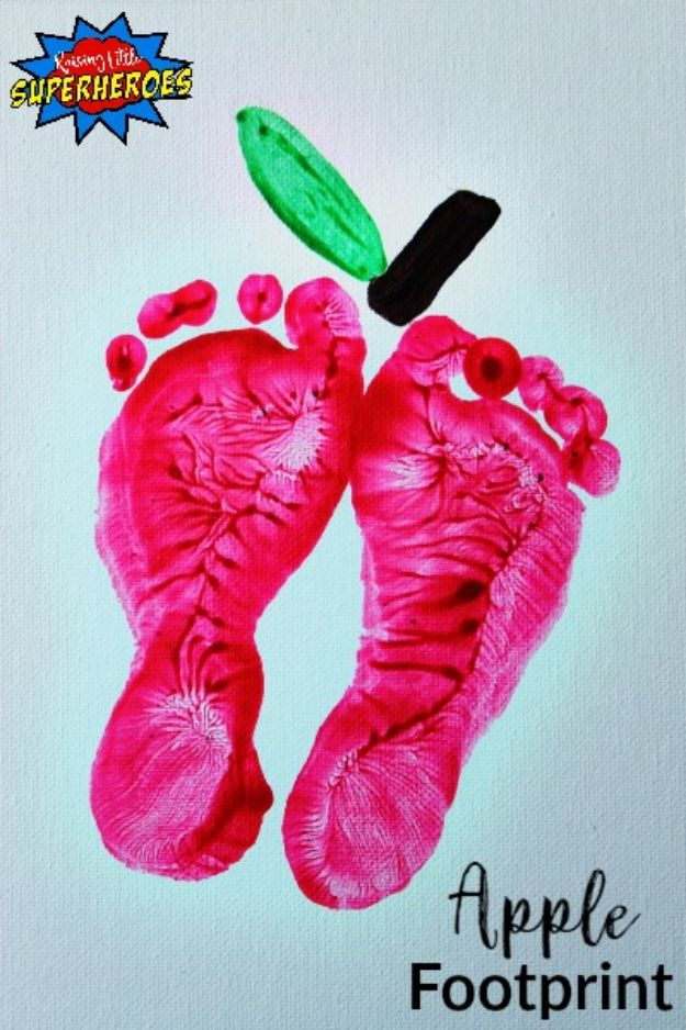 Fun Fall Crafts for Kids - Apple Footprints - Cool Crafts Ideas for Kids to Make With Paper, Glue, Leaves, Corn Husk, Pumpkin and Glitter - Halloween and Thanksgiving - Children Love Making Art, Paintings, Cards and Fall Decor - Placemats, Place Cards, Wall Art , Party Food and Decorations for Toddlers, Boys and Girls #fallcrafts #kidscrafts #kids