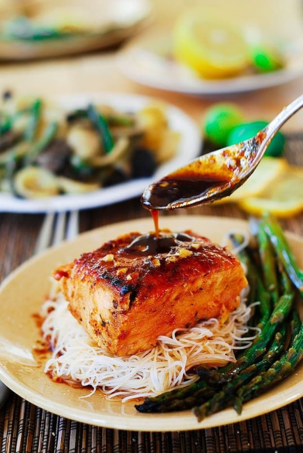 Asparagus Recipes - Asian Salmon with Rice Noodles and Asparagus - DIY Asparagus Recipe Ideas for Homemade Soups, Sides and Salads - Easy Tutorials for Roasted, Sauteed, Steamed, Baked, Grilled and Pureed Asparagus - Party Foods, Quick Dinners, Dishes With Cheese, Vegetarian and Vegan Options - Healthy Recipes With Step by Step Instructions http://diyjoy.com/asparagus-recipes