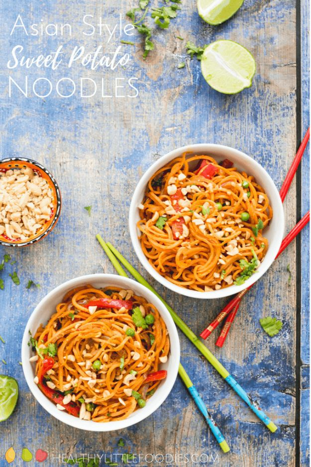 Veggie Noodle Recipes - Asian Style Sweet Potato Noodles - How to Cook With Veggie Noodles - Healthy Pasta Recipe Ideas - How to Make Veggie Noodles With Carrots and Zucchini - Vegan, Vegetarian , Keto and Low Carb Dishes for Your Diet - Meatballs, Chicken, Cheese, Asian Stir Fry, Salad and Raw Preparations #veggienoodles #recipes #keto #lowcarb #ketorecipes http://diyjoy.com/veggie-noodle-recipes