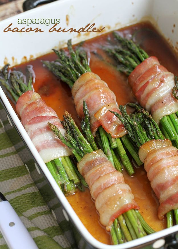 Asparagus Recipes - Asparagus Bacon Bundles - DIY Asparagus Recipe Ideas for Homemade Soups, Sides and Salads - Easy Tutorials for Roasted, Sauteed, Steamed, Baked, Grilled and Pureed Asparagus - Party Foods, Quick Dinners, Dishes With Cheese, Vegetarian and Vegan Options - Healthy Recipes With Step by Step Instructions http://diyjoy.com/asparagus-recipes