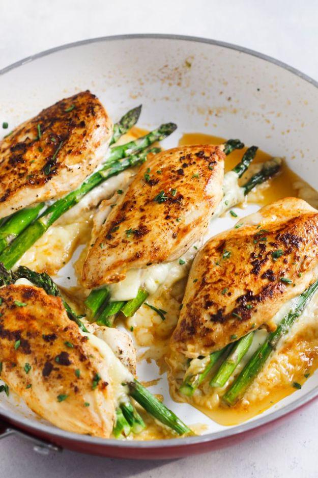 Chicken Breast Recipes - Asparagus Stuffed Chicken Breast - Easy Chicken Recipes for Healthy Dinner Idea - Boneless Chicken Breast Casserole Recipe and One Pot Meals With Lean Chicken