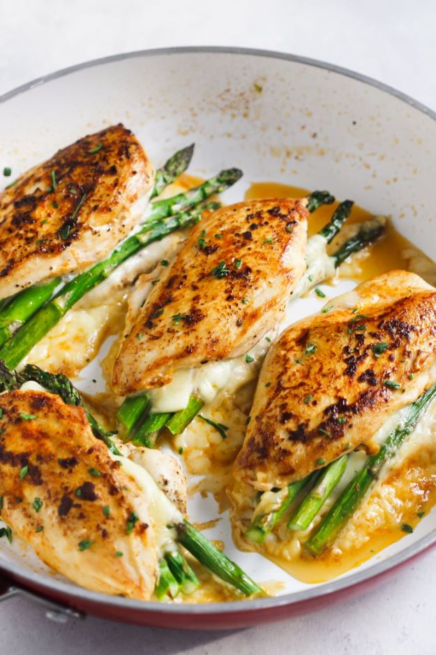 Asparagus Recipes - Asparagus Stuffed Chicken Breast - DIY Asparagus Recipe Ideas for Homemade Soups, Sides and Salads - Easy Tutorials for Roasted, Sauteed, Steamed, Baked, Grilled and Pureed Asparagus - Party Foods, Quick Dinners, Dishes With Cheese, Vegetarian and Vegan Options - Healthy Recipes With Step by Step Instructions http://diyjoy.com/asparagus-recipes