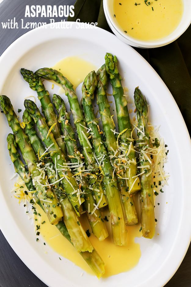 Asparagus Recipes - Asparagus with Lemon Butter Sauce - DIY Asparagus Recipe Ideas for Homemade Soups, Sides and Salads - Easy Tutorials for Roasted, Sauteed, Steamed, Baked, Grilled and Pureed Asparagus - Party Foods, Quick Dinners, Dishes With Cheese, Vegetarian and Vegan Options - Healthy Recipes With Step by Step Instructions http://diyjoy.com/asparagus-recipes