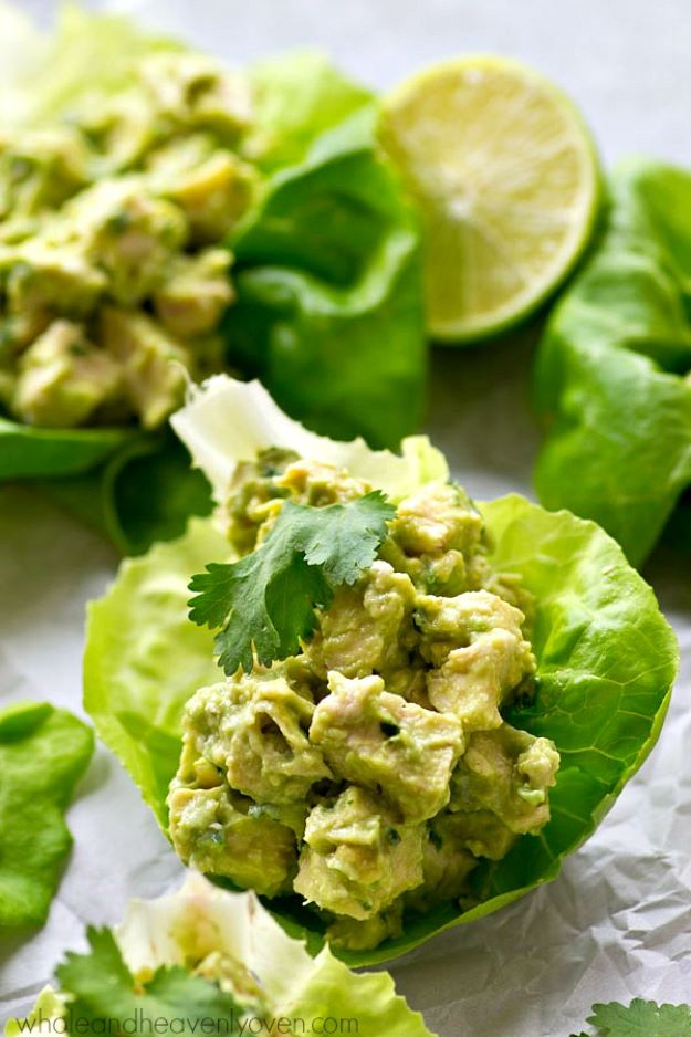 Avocado Recipes - Avocado Chicken Salad Lettuce Wraps - Quick Avocado Toast, Eggs, Keto Guacamole, Dips, Salads, Healthy Lunches, Breakfast, Dessert and Dinners - Party Foods, Soups, Low Carb Salad Dressings and Smoothie http://diyjoy.com/avocado-recipes