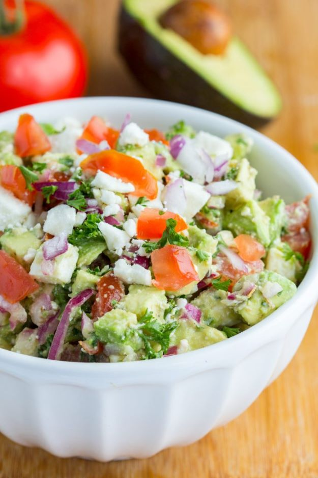 Avocado Recipes - TAvocado Feta Dip - Quick Avocado Toast, Eggs, Keto Guacamole, Dips, Salads, Healthy Lunches, Breakfast, Dessert and Dinners - Party Foods, Soups, Low Carb Salad Dressings and Smoothie http://diyjoy.com/avocado-recipes