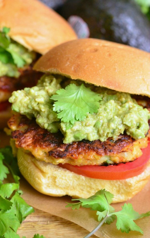 Avocado Recipes - Avocado Shrimp Burgers - Quick Avocado Toast, Eggs, Keto Guacamole, Dips, Salads, Healthy Lunches, Breakfast, Dessert and Dinners - Party Foods, Soups, Low Carb Salad Dressings and Smoothie http://diyjoy.com/avocado-recipes