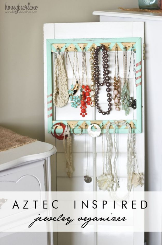 Organizing Ideas for Your Life - Aztec Inspired Jewelry Organizer - Easy Crafts and Cool Ideas for Getting Organized - Best Ways to Get Organized - Things to Make for Being More Efficient and Productive - DIY Storage, Shelving, Calendars, Planning #organizing