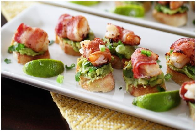Avocado Recipes - Bacon Wrapped Shrimp Appetizer With Avocado On Garlic Toast - Quick Avocado Toast, Eggs, Keto Guacamole, Dips, Salads, Healthy Lunches, Breakfast, Dessert and Dinners - Party Foods, Soups, Low Carb Salad Dressings and Smoothie http://diyjoy.com/avocado-recipes