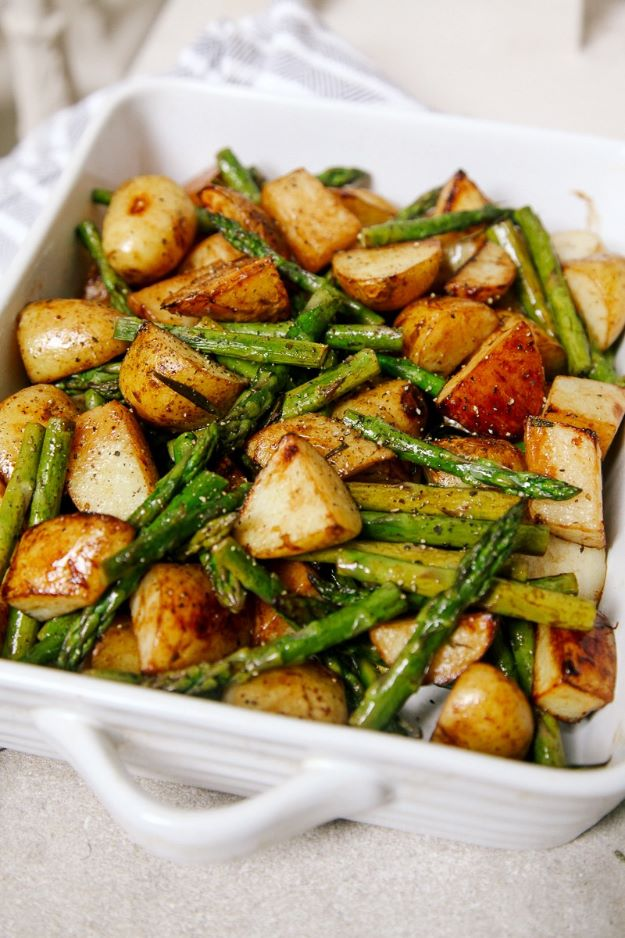 Asparagus Recipes - Balsamic Roasted New Potatoes With Asparagus - DIY Asparagus Recipe Ideas for Homemade Soups, Sides and Salads - Easy Tutorials for Roasted, Sauteed, Steamed, Baked, Grilled and Pureed Asparagus - Party Foods, Quick Dinners, Dishes With Cheese, Vegetarian and Vegan Options - Healthy Recipes With Step by Step Instructions http://diyjoy.com/asparagus-recipes