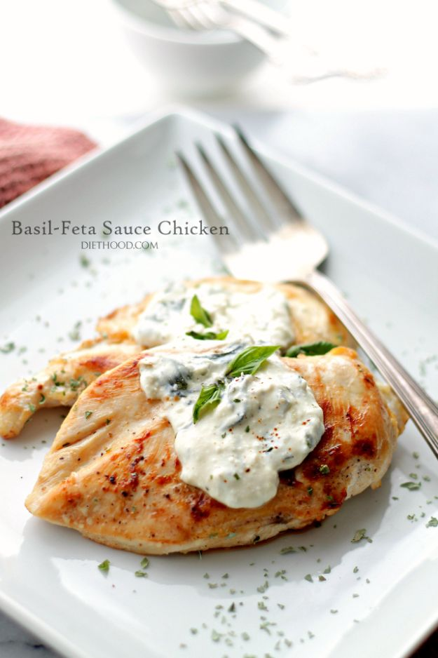 Easy Healthy Chicken Recipes - Basil-Feta Sauce Chicken - Lunch and Dinner Ideas, Party Foods and Casseroles, Idea for the Grill and Salads- Chicken Breast, Baked, Roastedf and Grilled Chicken #recipes #healthy #chicken