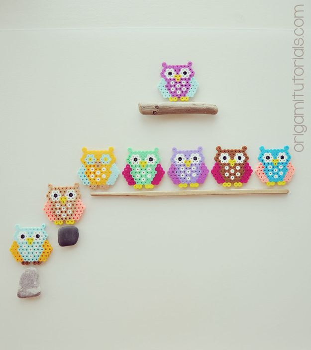 DIY perler bead crafts - Bead Owls - Cute Accessories and Homemade Decor That Make Creative DIY Gifts - Plastic Melted Beads Make Cool Art for Walls, Jewelry and Things To Make When You are Bored #diy #crafts