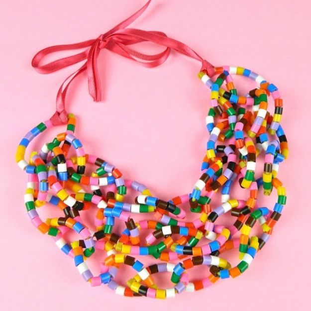 DIY perler bead crafts - Beaded Zip Tie Necklace - Easy Crafts With Perler Beads - Cute Accessories and Homemade Decor That Make Creative DIY Gifts - Plastic Melted Beads Make Cool Art for Walls, Jewelry and Things To Make When You are Bored #diy #crafts