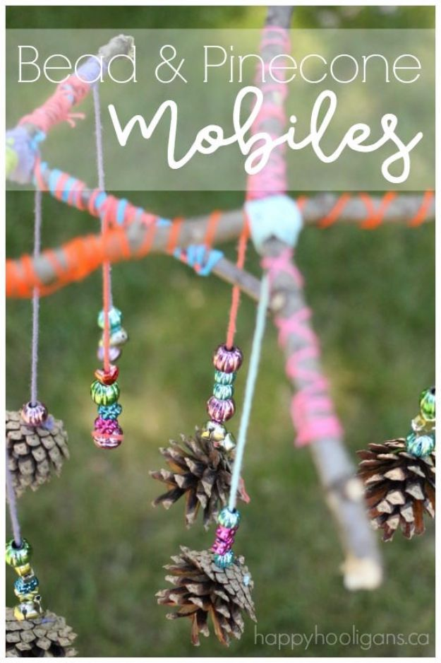 Fun Fall Crafts for Kids - Beautiful Pinecone Mobiles for Kids to Make - Cool Crafts Ideas for Kids to Make With Paper, Glue, Leaves, Corn Husk, Pumpkin and Glitter - Halloween and Thanksgiving - Children Love Making Art, Paintings, Cards and Fall Decor - Placemats, Place Cards, Wall Art , Party Food and Decorations for Toddlers, Boys and Girls http://diyjoy.com/fun-fall-crafts-kids