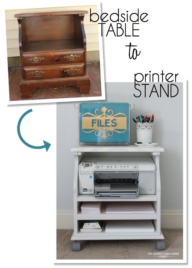 DIY Office Furniture - Bedside Table To Printer Stand - Do It Yourself Home Office Furniture Ideas - Desk Projects, Thrift Store Makeovers, Chairs, Office File Cabinets and Organization - Shelving, Bulletin Boards, Wall Art for Offices and Creative Work Spaces in Your House - Tables, Armchairs, Desk Accessories and Easy Desks To Make On A Budget #diyoffice #diyfurniture #diy #diyhomedecor #diyideas