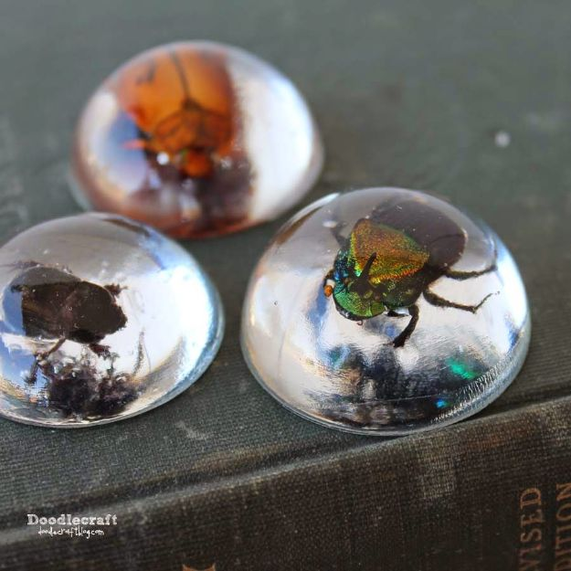 DIY Resin Casting Crafts - Beetles in Resin Jewelry - Homemade Resin and Epoxy Craft Projects and Ideas - How to Make Resin Jewelry - Use Silicon Molds to Make Paper Weights, Creative Christmas Ornaments and Crafts to Make and Sell - Flowers, Pictures, Clocks, Tabletop, Inspiration for Handmade Jewelry and Items to Sell on Etsy #crafts