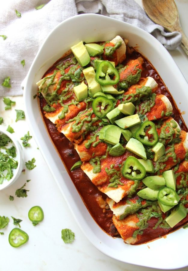 Enchiladas - Black Bean Potato Vegan Enchiladas with Avocado Cilantro Sauce - Best Easy Enchilada Recipes and Enchilada Casserole With Chicken, Beef, Cheese, Shrimp, Turkey and Vegetarian - Healthy Salsa for Green Verdes, Sour Cream Enchiladas Mexicanas, White Sauce, Crockpot Ideas - Dinner, Lunch and Party Food Ideas to Feed A Group or Crowd http://diyjoy.com/enchilada-recipes
